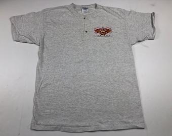 9c0cab33d2 Vintage 90s WCW nitro grill Las Vegas restaurant henley t-shirt mens L  world championship wrestling