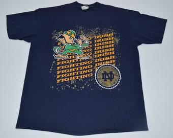 Vintage 90s Notre Dame Fighting Irish t-shirt mens XL NCAA Football Rudy Single stitch
