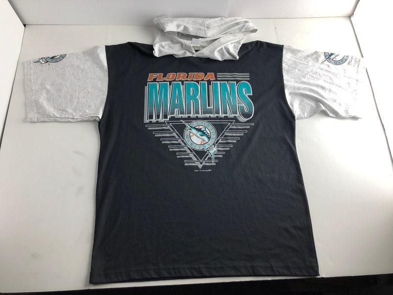8d1c1a3365d Vintage 1991 florida marlins hooded t-shirt mens XL mlb