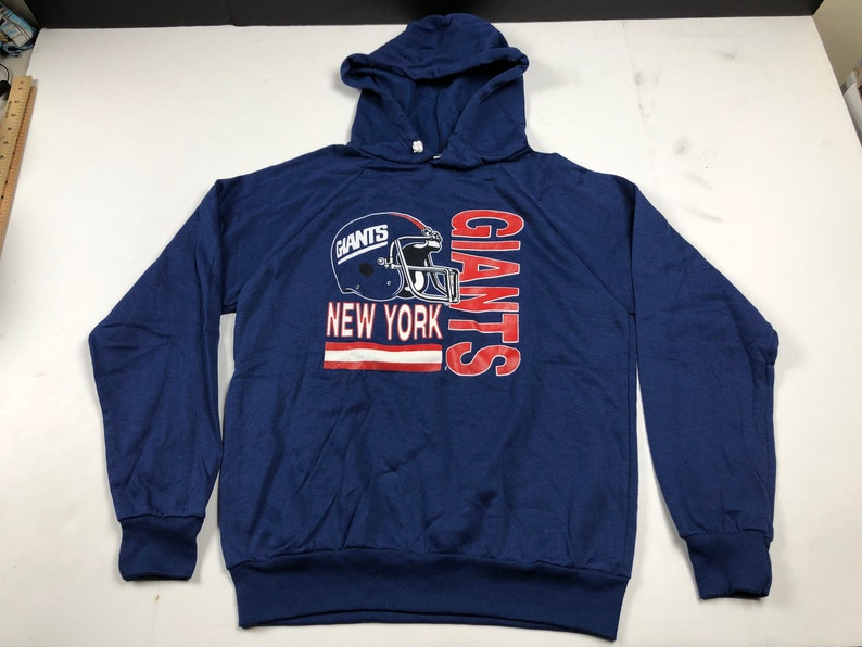 best authentic 92e79 2e1c0 NOS Vintage 80s New York giants hoodie hooded sweatshirt youth XL fits Mens  S nfl football