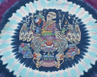 Vintage 90s Grateful Dead Circus Liquid Blue Tie Dye all over print t-shirt mens Large Garcia