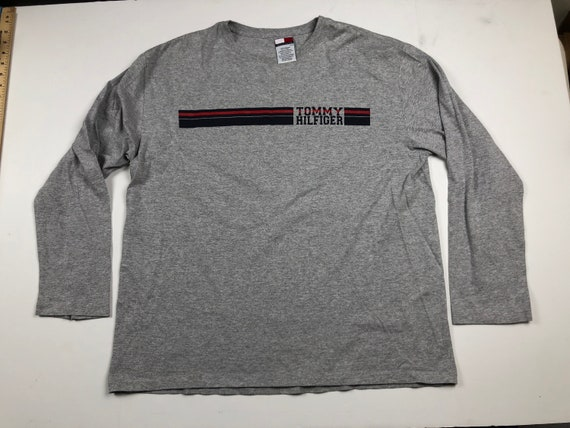 93d30ad69 Vintage 90s Tommy Hilfiger spell out 85 logo long sleeve   Etsy