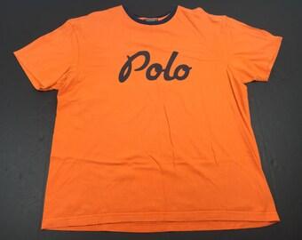 Vintage 90s Ralph Lauren Polo cursive script spell out logo Sport t-shirt mens L spellout PRL