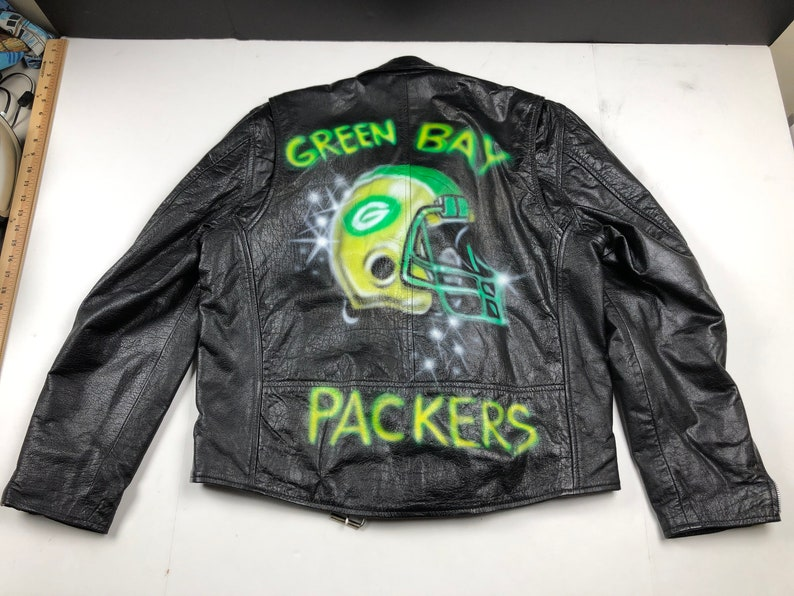 size 40 deae3 bbea2 Vintage 80s Green Bay Packers airbrushed leather motorcycle jacket mens XL  nfl football