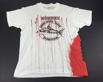 Vintage 80s Great White Shark expedition t-shirt mens XL bloody attack deadstock