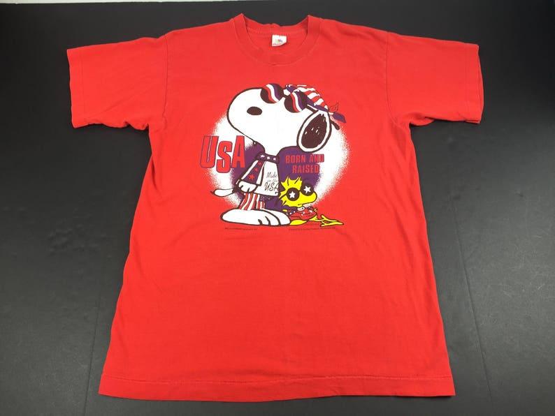bb7f5acc Vintage 90s snoopy woodstock t-shirt mens L peanuts comic | Etsy