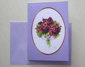 Nostalgic ' violet Bouquet ' folding card with envelope