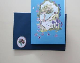 Spring Awakening with dark blue envelope and sticker