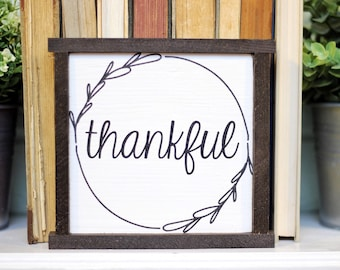 """6.5""""x6.5""""  Thankful   Fall Sign   Thanksgiving Decor   Farmhouse Wood Sign   Painted"""