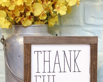 """8""""x8""""  Thankful   Fall Sign   Thanksgiving Decor   Farmhouse Wood Sign   Painted"""