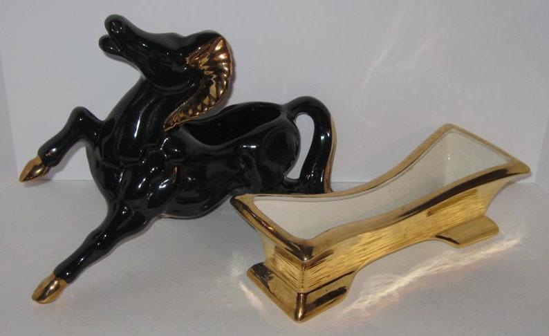Black Horse /& Rectangular Mid-Century Ceramic Planters 22K Glazed Pottery Pair