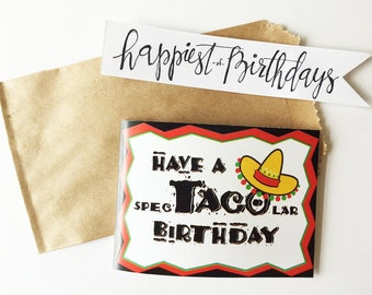 taco birthday gift card holder instant download, birthday gift printable