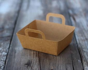 10 kraft mini baskets,  4 oz food tray, paper food tray, mini Easter basket