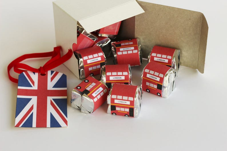 Double Decker bus Candy Wrapper Instant Download Bus image 0