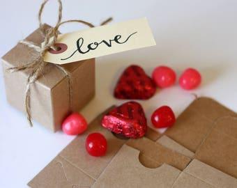 25 Kraft or White glossy 2x2x2 tuck top box, favor box, gift box,