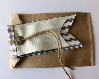 """Set of 6 Fabric and Ribbon Hang Tags, Denim Collection, 4"""" x 2"""" hang tag with antique brass eyelet"""