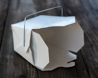 100 Chinese takeout boxes white 1/2 pint wire handle, favor boxes, food boxes, cupcake boxes, Valentine favor, Chinese New Year