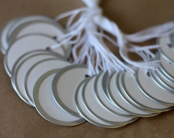 """50 metal rimmed circle tags, 1 7/8"""" round paper tags with metal rim, inventory tags, lable tags"""