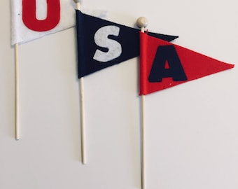 School pennant cake flags, cupcake flags, cupcake picks