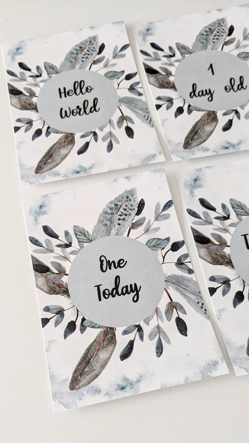 Baby Shower Gift 40 Milestone Moments Milestone cards New baby gift Digital Download Feather Baby Milestone Cards DIY Baby Photo Props
