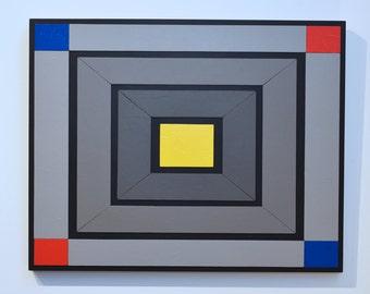 Shades of Grey 13 - original contemporary mixed media painting of acrylic on wood