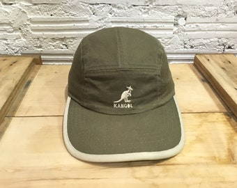 8c871d68daa Vintage Kangol camp cap embroidered logo 5 panel cap strapback adjustable  Military Green Excellent condition