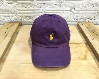 d7a3fea350244 Vintage Polo ralph lauren cap Polo small pony leather strapback cap Purple  Yellow Good condition
