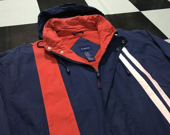 f2ae7570 Vintage Catalina jacket hooded windbreaker color striped Red and White  striped on Navy Blue Size L Good condition