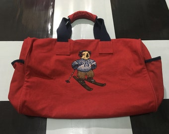 e37d7bc212c5 Vintage Polo bear duffel bag skibear spell out strap Red Excellent condition