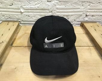 834c688883d Vintage Nike Air cap Nike big swoosh logo Air spell out embroidered  adjustable cap strapback Black Excellent condition 90s Nike