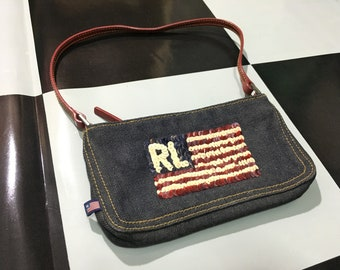 Vintage Polo jeans mini shoulder bag RL USA flag logo sequin small handbag  Good condition Ralph lauren polo jeans company e05e7a90a8c79
