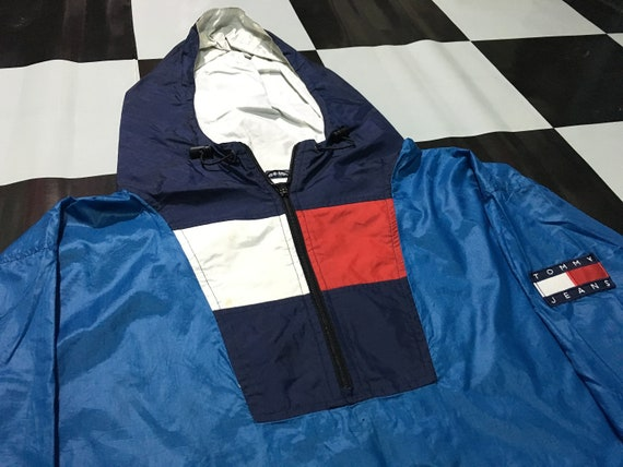 Vintage Tommy hilfiger jacket hooded windbreaker pullover half zip anorak jacket flag logo Blue Size 2XL Good condition