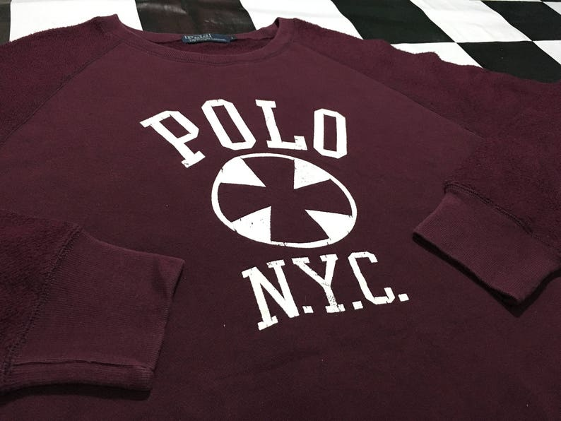 6051b1e1a876b Vintage Polo ralph lauren sweater big logo spell out Polo NYC