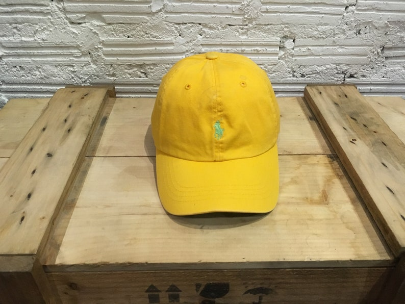 Vintage Cap Lauren Condition Ralph Leather Excellent Strapback Small Green Polo Pony Yellow J5Kul3TF1c