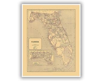 Old Florida Maps.Old Florida Map Etsy