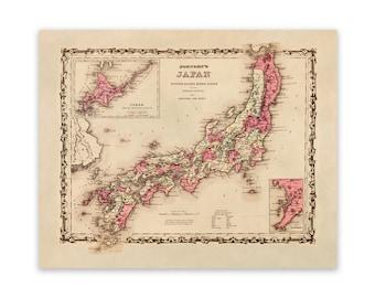 Vintage Map of Japan 1855 Colton Map 9538