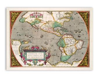 1600 new world map   Etsy
