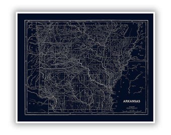 Retro arkansas etsy arkansas railroad map 1842 ar map vintage blueprint style print stylish blue retro home decor depicts railways and towns malvernweather Gallery