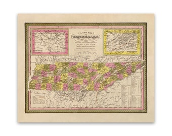 24x36 Vintage Historic Map Nashville Tennessee 1897 Davidson