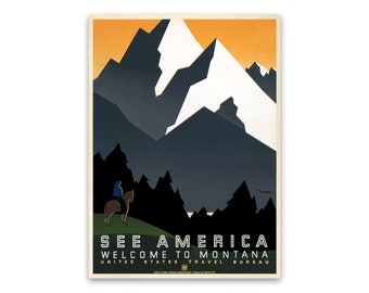 T24 Vintage 1930/'s See America Montana USA Travel Poster Re-Print A4