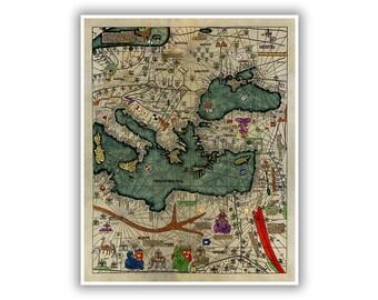 Medieval World Map Etsy