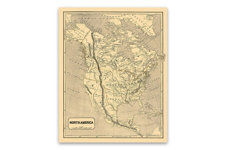 Old North America Map 1800s, Antique American Map, USA, Canada, Mexico  Vintage Style Print