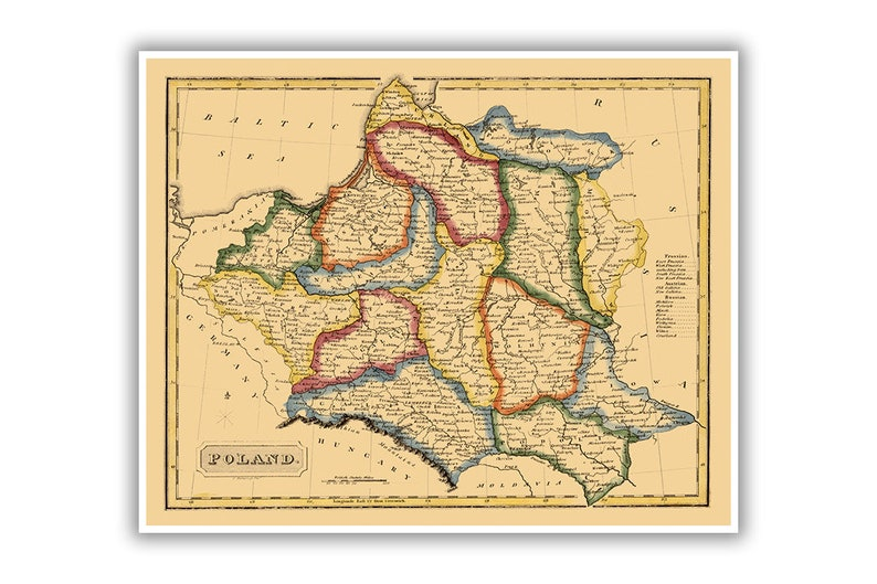 Poland Map Circa 1817 1800s Old Polish Antique Vintage Art Etsy