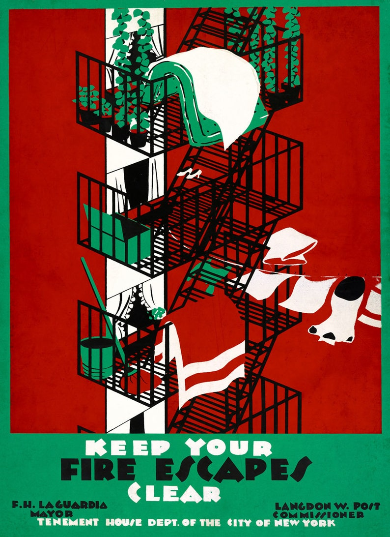 New York City Vintage Style Print Fire Escapes WPA Poster
