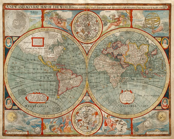 Old World Map Poster, 1600s Beautiful Earth Map, Antique And Ancient World  View, Oddities And Curiosities