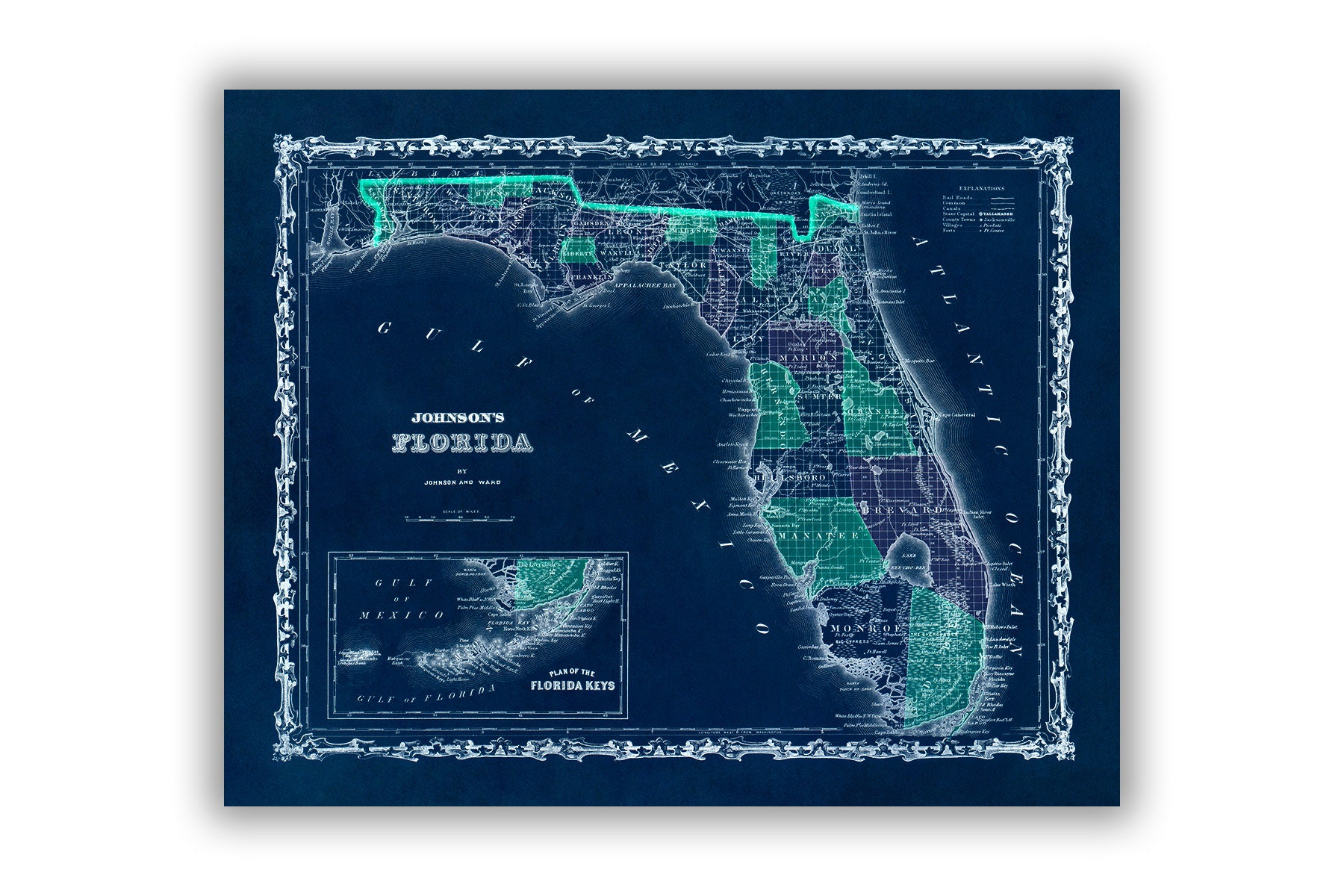 Map 0f Florida.Florida State Map Print 1862 Old Map Of Florida Poster Vintage Style Map Print 3 Color Options
