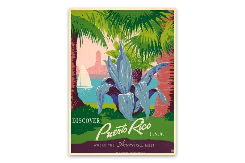 Puerto Rico Travel Poster Wpa Vintage Style Print