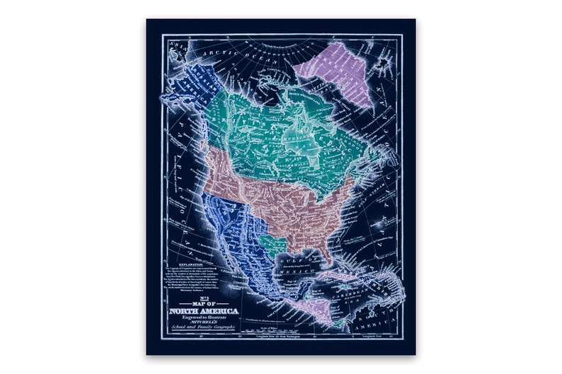 Old North America Map Poster Circa 1839, Old American Vintage Style Print,  2 Color Options