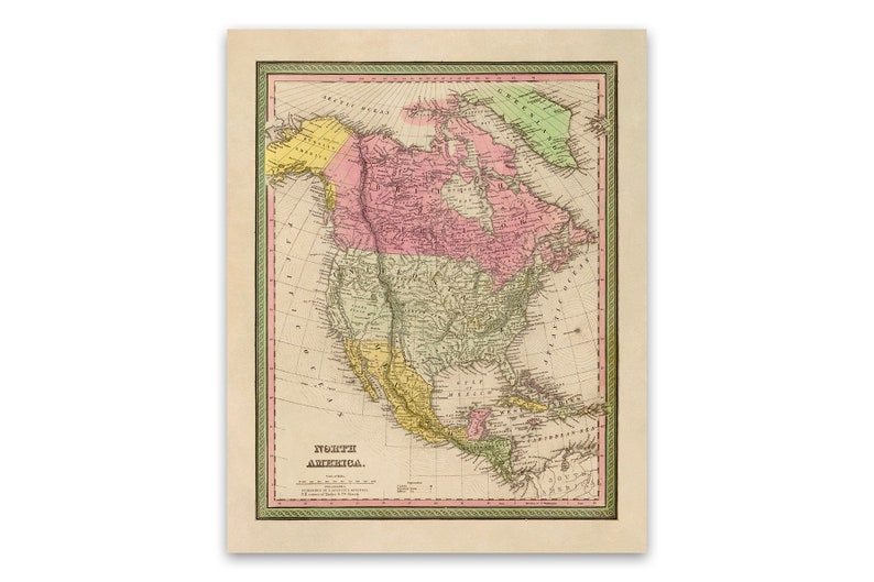 Old North America Map Poster, American Continent Vintage Style Print, Old  Maps, United States, Mexico, British Territory, Canada