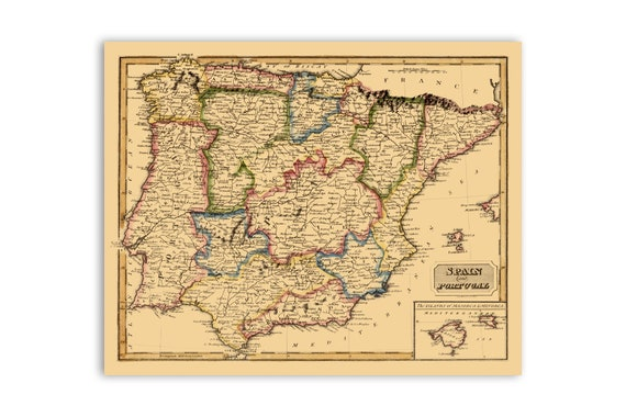 Spain And Portugal Map, Iberian Peninsula, 1800 Old Spanish Antique Vintage  Style Portuguese Print, 2 Color Options